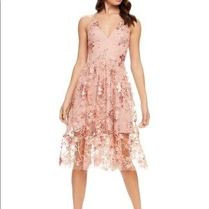 Ally Floral Embroidered Sequin Lace Fit&Flare Midi
